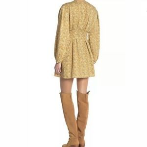 FREE PEOPLE Portobello Gold Flared Mini Dress 8